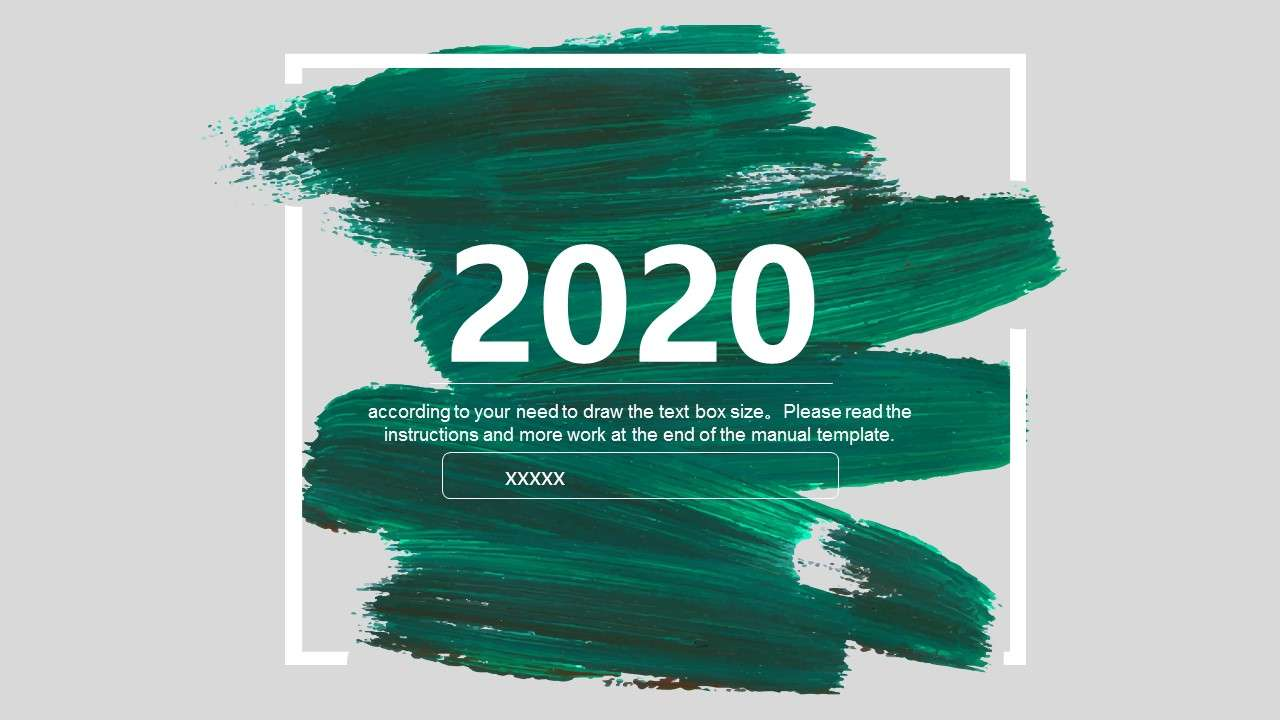 绿色笔刷商务通用PPT模板