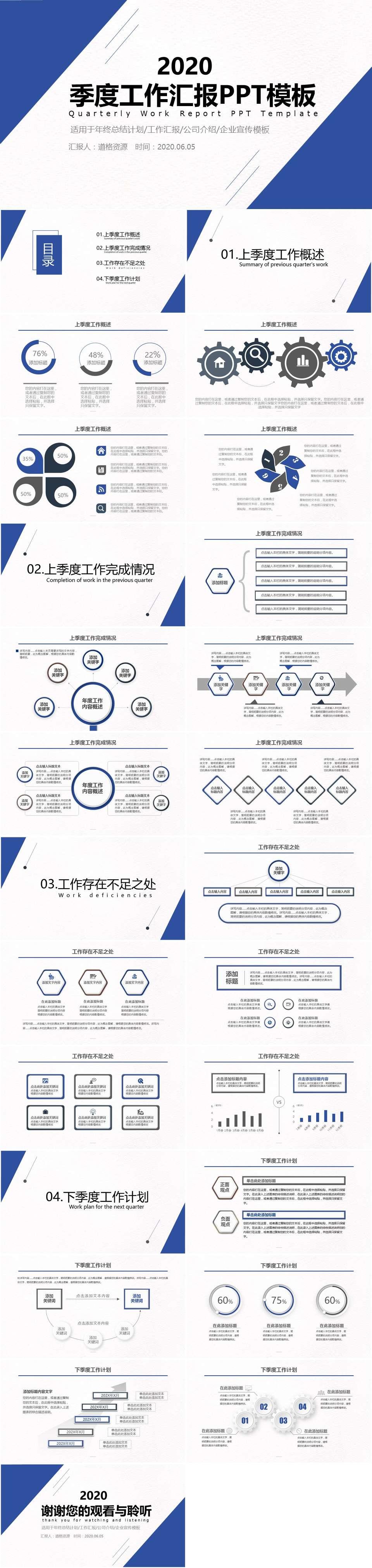2019简约商务风季度工作汇报工作总结PPT模板插图1