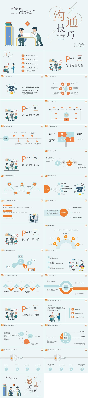 淡绿色扁平企业沟通技巧培训课件PPT模板插图1
