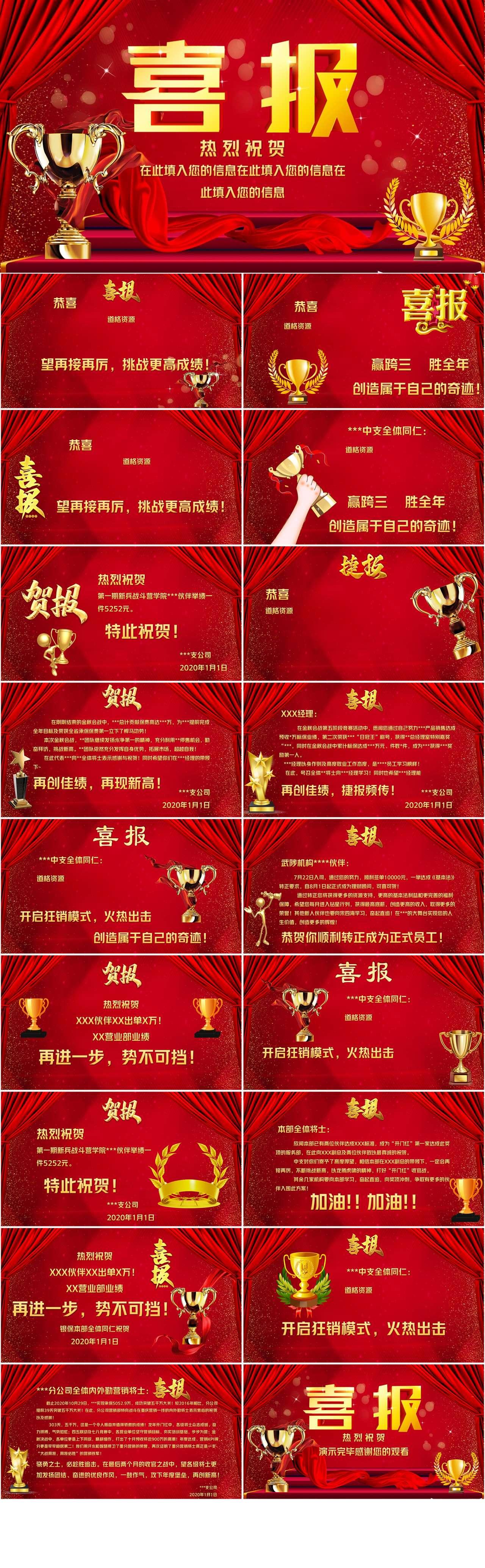 红色酷炫公司销售喜报颁奖典礼PPT模板插图1