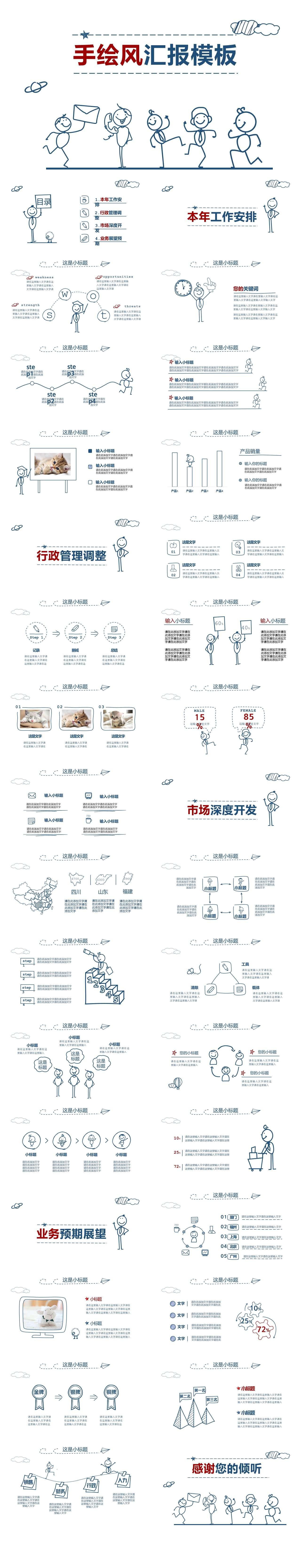 手绘风手绘小人商务报告PPT模板插图1