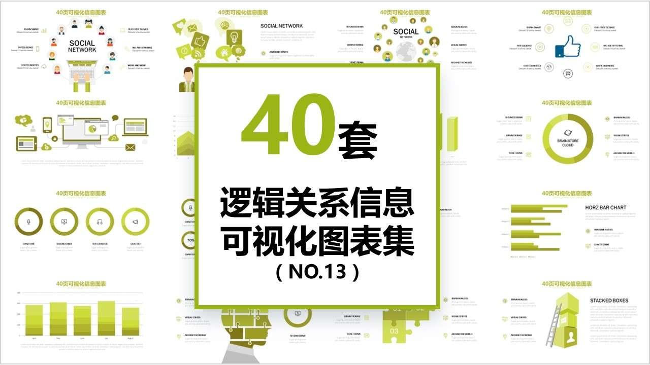 40页逻辑关系图形信息可视化PPT图表