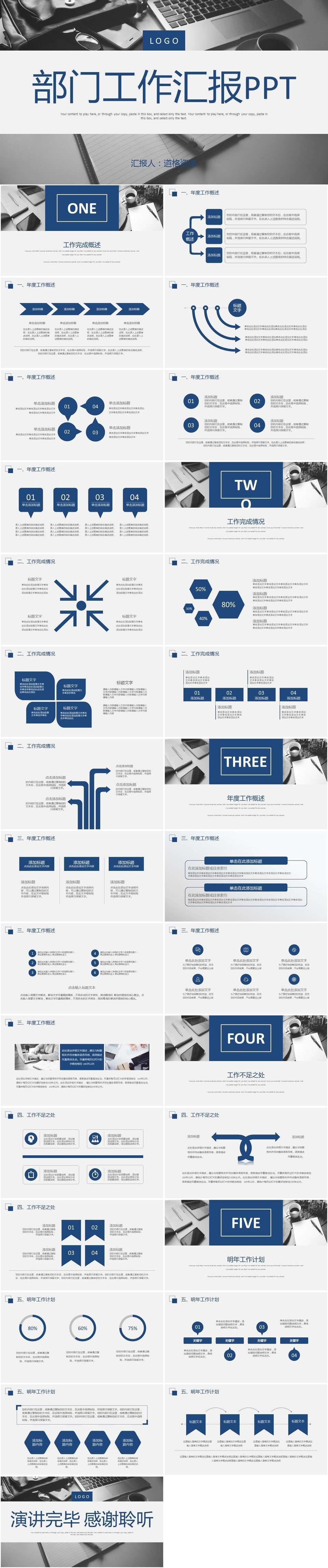 蓝色商务工作汇报计划PPT模板插图1