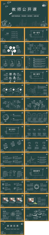 手绘黑板教师公开课学校通用教学动态PPT插图1