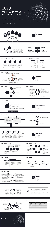 2020黑色简约科技感商业项目计划书PPT模板插图1