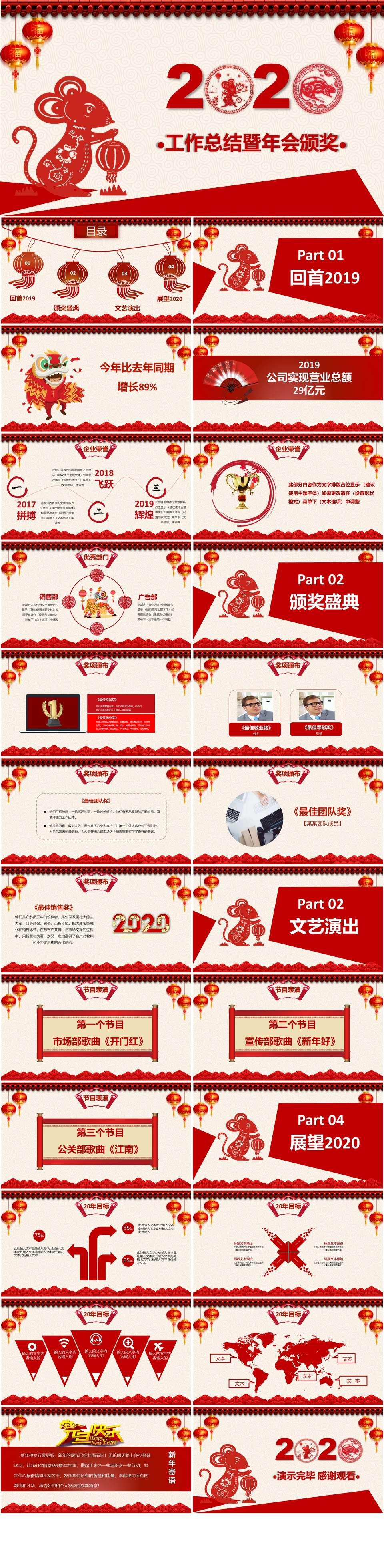 2020中国红剪纸喜庆工作总结暨年会颁奖模板插图1