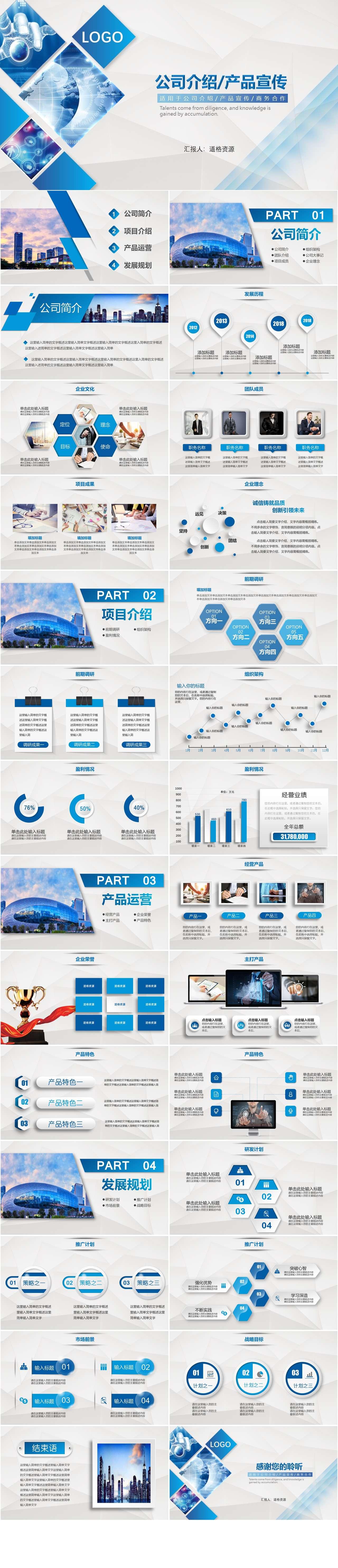 蓝色简约公司介绍企业宣传推广PPT模板插图1