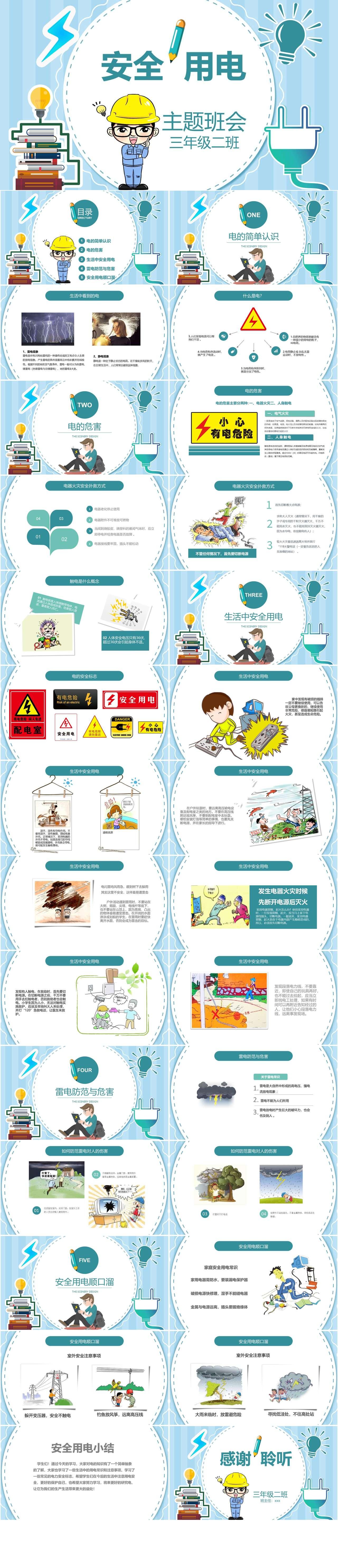 蓝色卡通安全用电教育主题班会PPT模板插图1