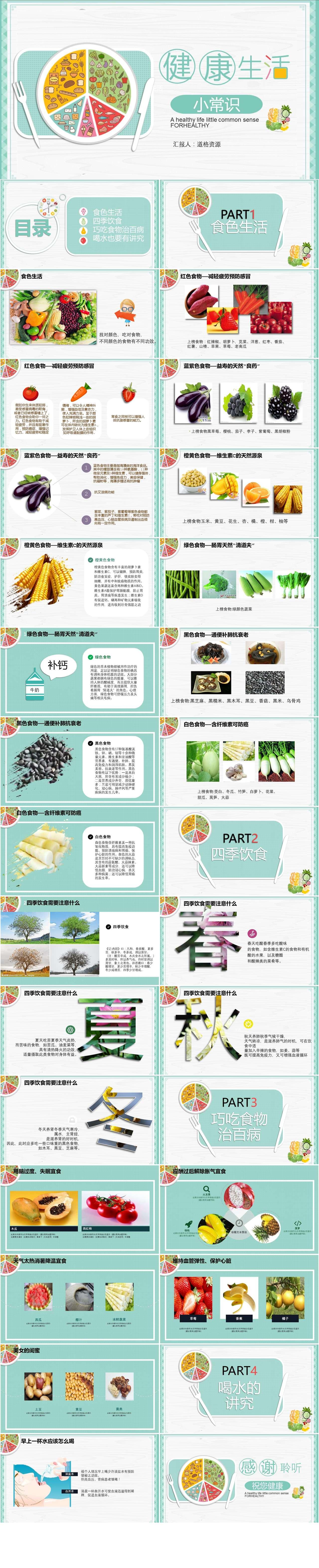 浅绿色小清新美食健康生活小常识PPT模板插图1