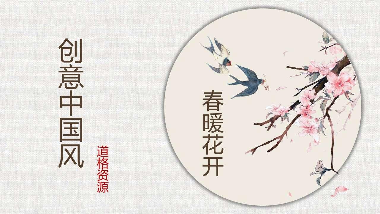 创意中国风复古花卉文艺动态PPT模板插图