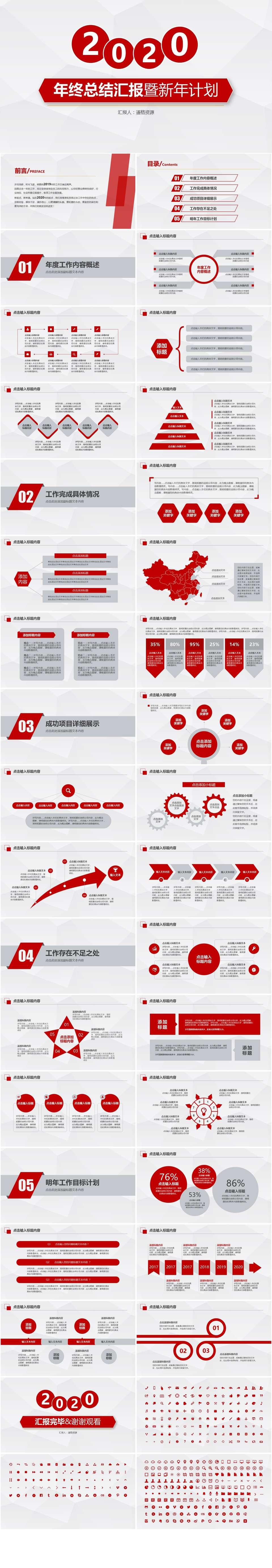高端红色年终总结汇报暨新年计划通用PPT模板插图1