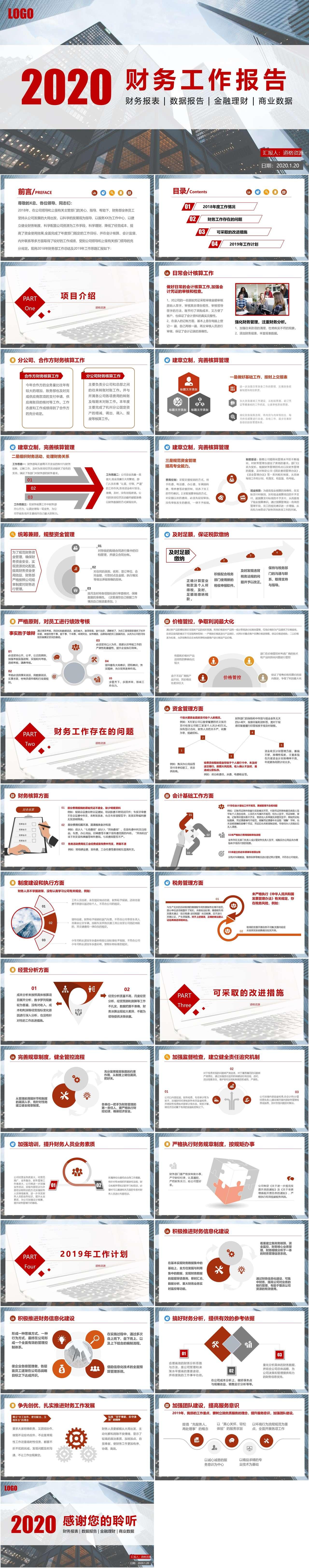 2020简约商务风公司企业财务部工作总结计划PPT模板插图1
