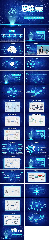 蓝色科技风思维导图讲解课件PPT模板插图1