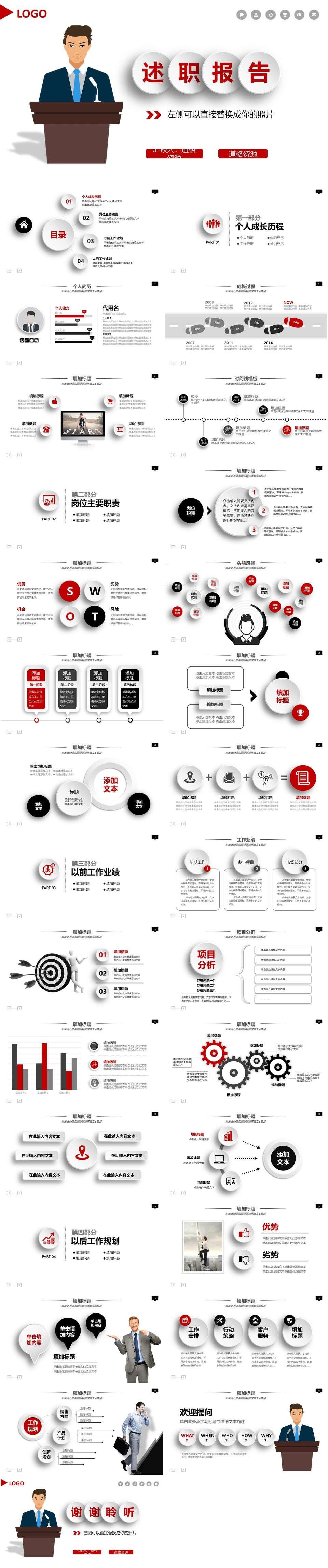 红色简洁实用工作总结暨新年计划PPT模板插图1
